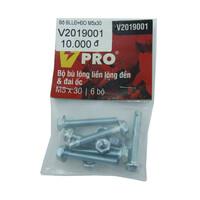 Bộ cái bù lông liền lông đền và đai ốc M5x30 VPRO V2019001  túi 6 bộ
