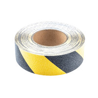 RS PRO Black/Yellow 18.3m Hazard Tape, 50mm x (7621525)