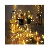 Dây đèn LED trang trí dài 5m, 20 bóng hình sao năm cánh màu vàng dùng pin