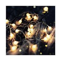 Dây đèn LED trang trí dài 5m, 20 bóng tròn màu trắng đục dùng pin