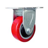 Bánh xe PU đỏ tải trọng nhẹ trục cố định Kyung Chang 2040R A1 PVC